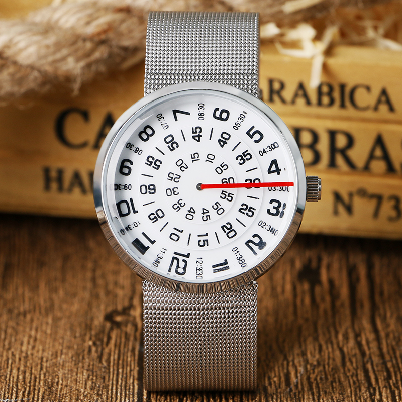 Fashion Special Turntable Dial Design Silver Mesh Stainless Steel Band Strap Modern Men Women Student Quartz Wrist Watch paidu cool turntable triangle men wrist watch stainless steel mesh band strap black dial sport fashion quartz creative watches