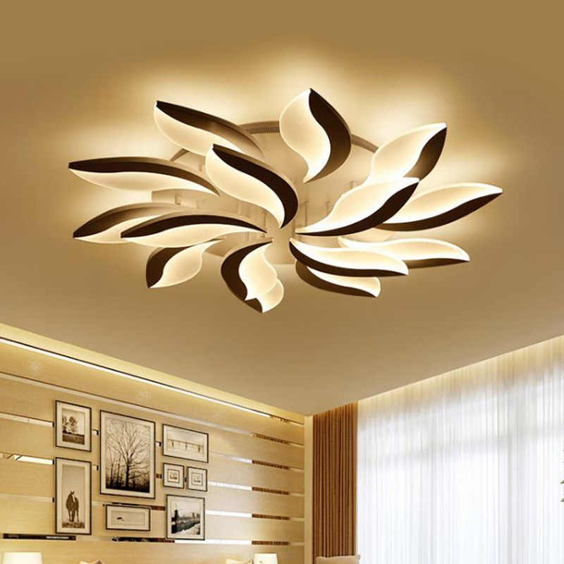Modern LED ceiling lights for living room black hardware with remote control acrylic lampshade for bedroom fixture 2.4G RF