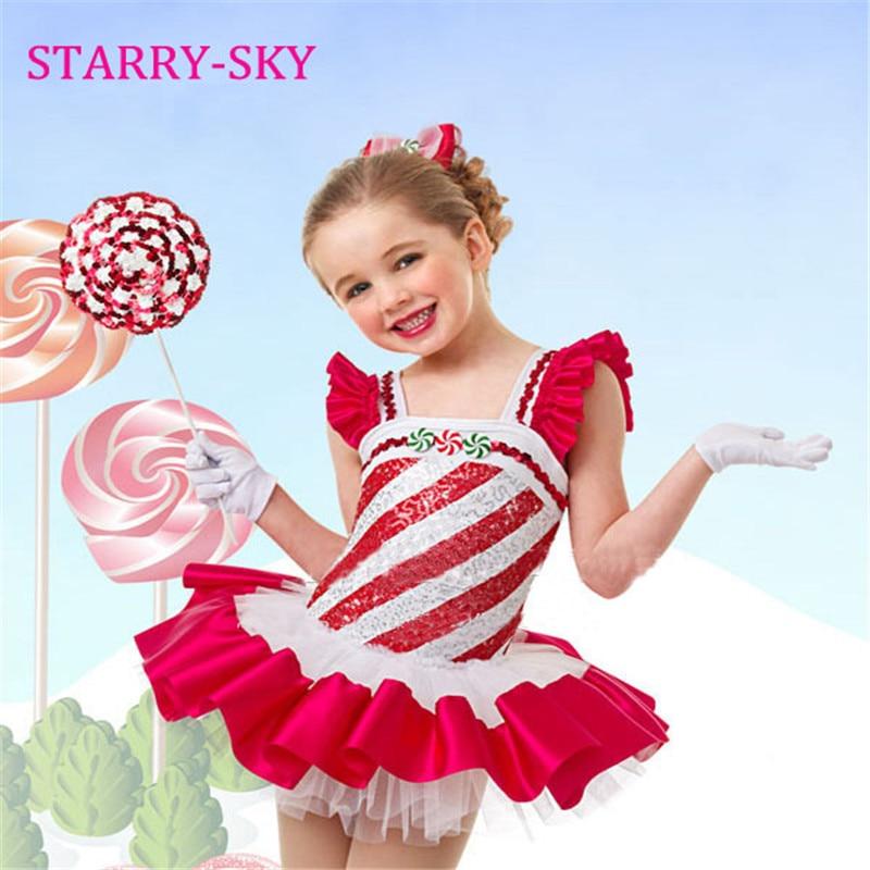 Baletna obleka za dekleta Otroške plesne noše Oblačila Otroške obleke Gimnastika Tutu Leotard Girl Red Dancewear Ballet (Pošlji darilo)