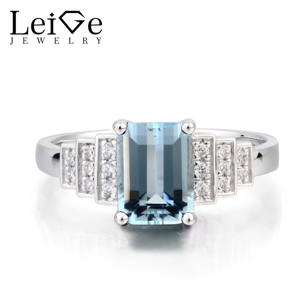 Leige Jewelry March Birthstone Natural Blue Aquamarine Ring Wedding Ring Emerald Cut Gemstone 925 Sterling Silver Women JewelryLeige Jewelry March Birthstone Natural Blue Aquamarine Ring Wedding Ring Emerald Cut Gemstone 925 Sterling Silver Women Jewelry