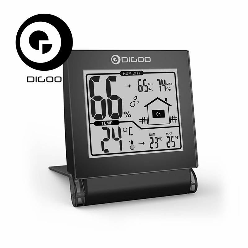 Digoo DG-TH1117 TH1117 Home Comfort Foldable Mini Collapsible Digital Indoor Hygrometer Temperature Senor Monitor digital indoor air quality carbon dioxide meter temperature rh humidity twa stel display 99 points made in taiwan co2 monitor