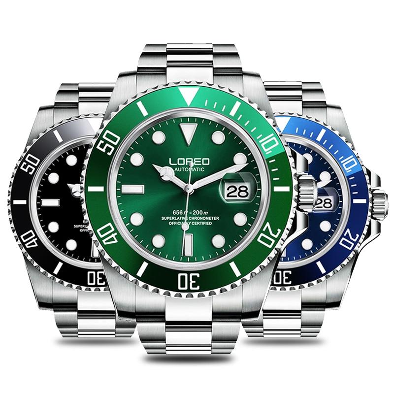2019 New 20bar Diving Watch Automatic Luxury brand LOREO Sapphire Mechanical Watch Men Calendar Luminous Water Ghost Green Watch - 2