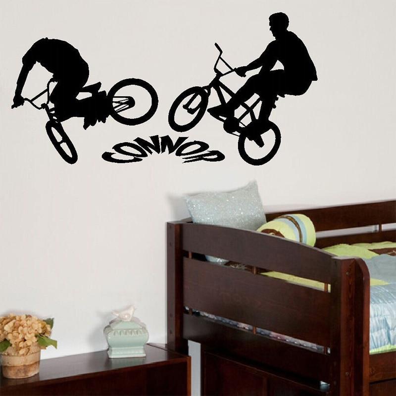 PERSONALISED BMX BIKE LARGE CHILDREN BEDROOM WALL MURAL STICKER - Custom bmx stickers