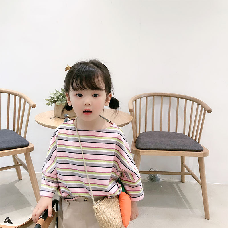 T-Shirt Toddler Clothing Girl Short-Sleeved Striped Kids Cotton Fashion Summer And Casual