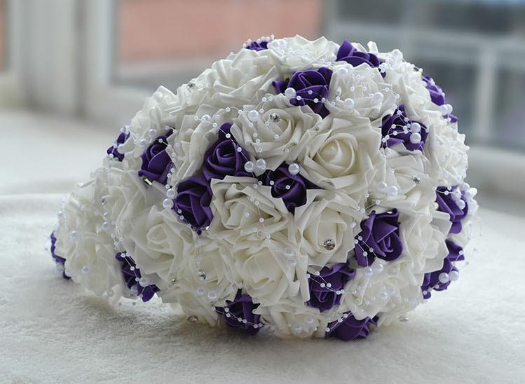 Wedding Accessories Good Buque Noiva Purple White Bridal Bouquet Artificial Waterfall Flowers Bridesmaid Romantic Handmade Pe Wedding Bouquet For Bride