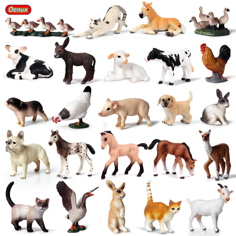 Oenux Simulation Poultry Animals Horse Cow Small Size Animals Figurines Miniature Farm Hen Action Figures Toy For Kids  Gift