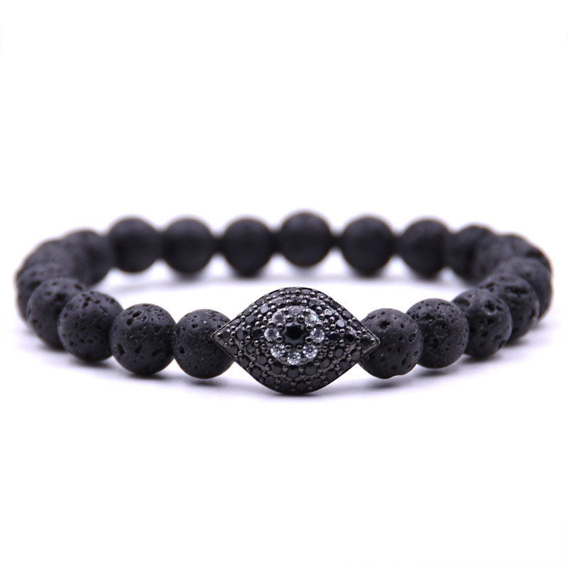 KANGKANG 2019 Trendy 8mm 5 color Stone Pave CZ black metal model Eye of gaze Bracelets Men Women charm DIY Creative Jewelry in Strand Bracelets from Jewelry Accessories