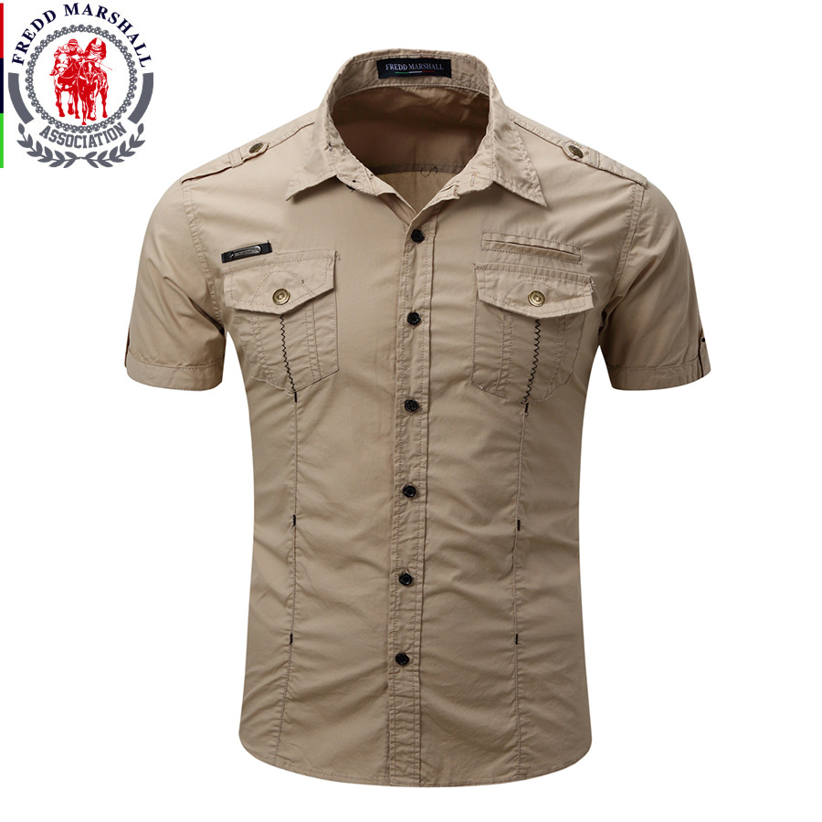 8833897436 2017 New Arrive Mens Cargo Shirt Men Casual Shirt Solid Short Sleeve ...