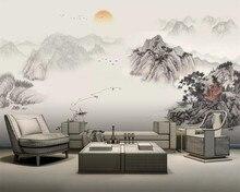 Beibehang-papier peint 3d avec encre, conception artistique chinoise abstraite, décoration murale