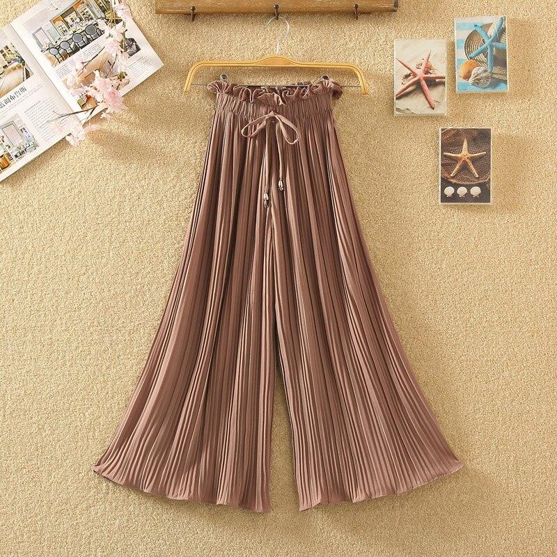 Ruffle Trousers for Women High Waist Wide Leg Chiffon Loose Pants Female Casual Large Sizes Clothes Korean Autumn 7