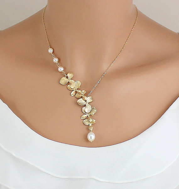 Gold Orchid Necklace Pearl Wedding Jewelry Bride Bridesmaids Gift Unique Bridal In Chain Necklaces From