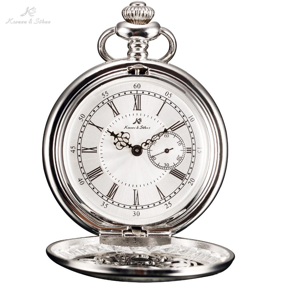 Prix pour KS Argent Chiffres Romains Squelette Boîtier En Alliage Japon Mouvement Quartz Analogique Homme Horloge Collier Steampunk Hommes Montre De Poche/KSP051