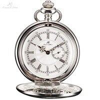 KS Silver Roman Numerals Skeleton Alloy Case Japan Movement Quartz Analog Male Clock Necklace Steampunk Men