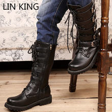 Мужские уличные длинные ботинки lin king черные мотоциклетные