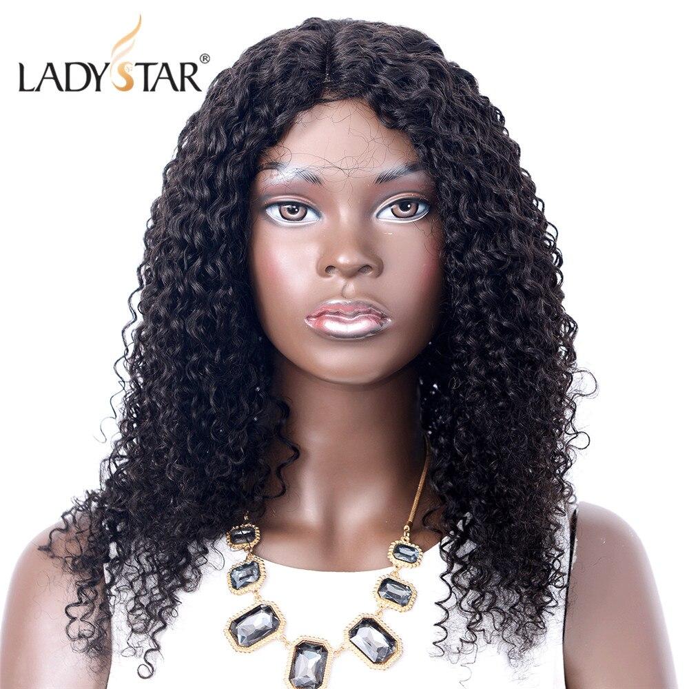 LADYSTAR 150% cheveux bouclés dentelle délié perruques de cheveux humains pour les femmes pré-plumées malaisienne Remy perruque de cheveux sans colle