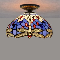 12 Inch LED Ceiling Light Stained Glass Dragonfly Ceiling Lamp Aisle Bedroom Living Room Ceiling led light Lustre decor Lamp