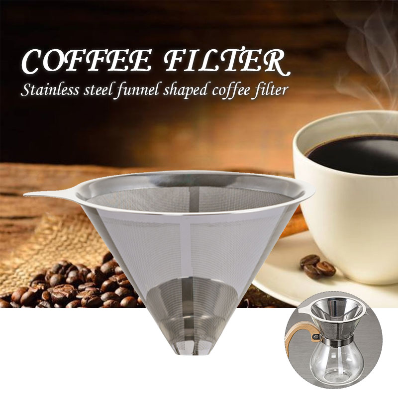 Coffee Funnel Coffeemaker Baskets Portable Stainless Steel Coffee Filter Reusable Dripper Cone Coffee Filter Mesh Restaurant
