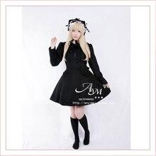 Free Shipping Gothic Lolita Punk Wool Black Coat Jacket Dress Cosplay Costume Custom-made