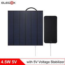 ELEGEEK 4.5W 5V Mini Solar Panel Charger with Regulator USB Output Polycrystalline 750mAh Solar Panel for Charging  Power Bank