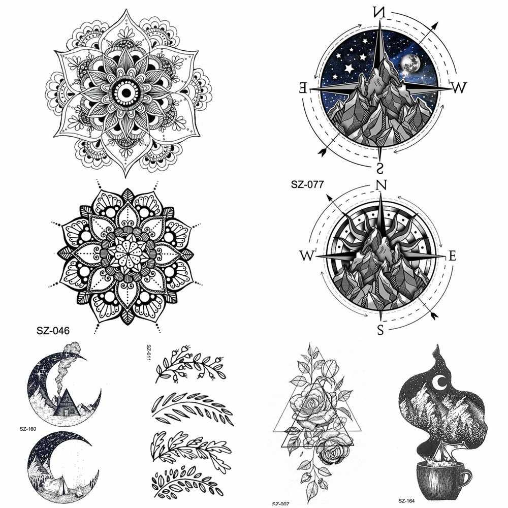 Black Henna Flora Temporary Tattoo Mandala Compass Arm Stickers Women Body Art Fake Tattoo Men Ankle Hill Waterproof Tattoo Moon
