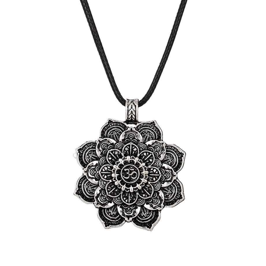 Colar Chakra Yoga Mandala flor da Vida Colar de Pingente de prata Antiga Zen Budismo Buda Amuleto Religioso do Presente Da Jóia