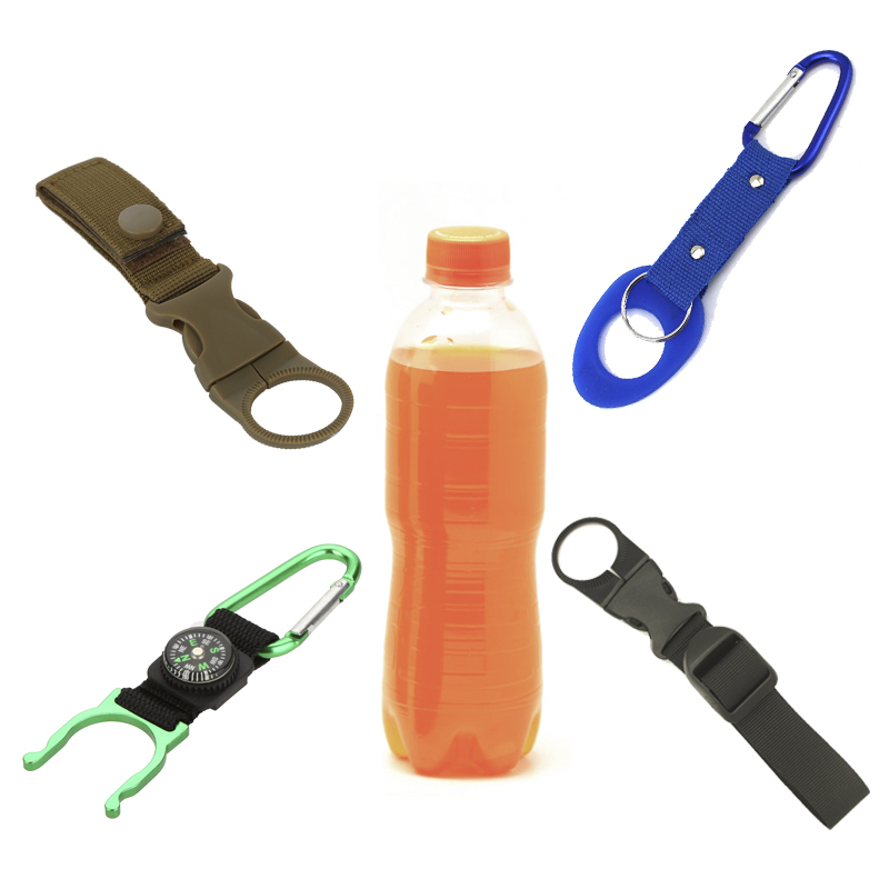 Rubber Carabiner Clip Camping Hiking Water Bottle Holder With Hook Clip Black