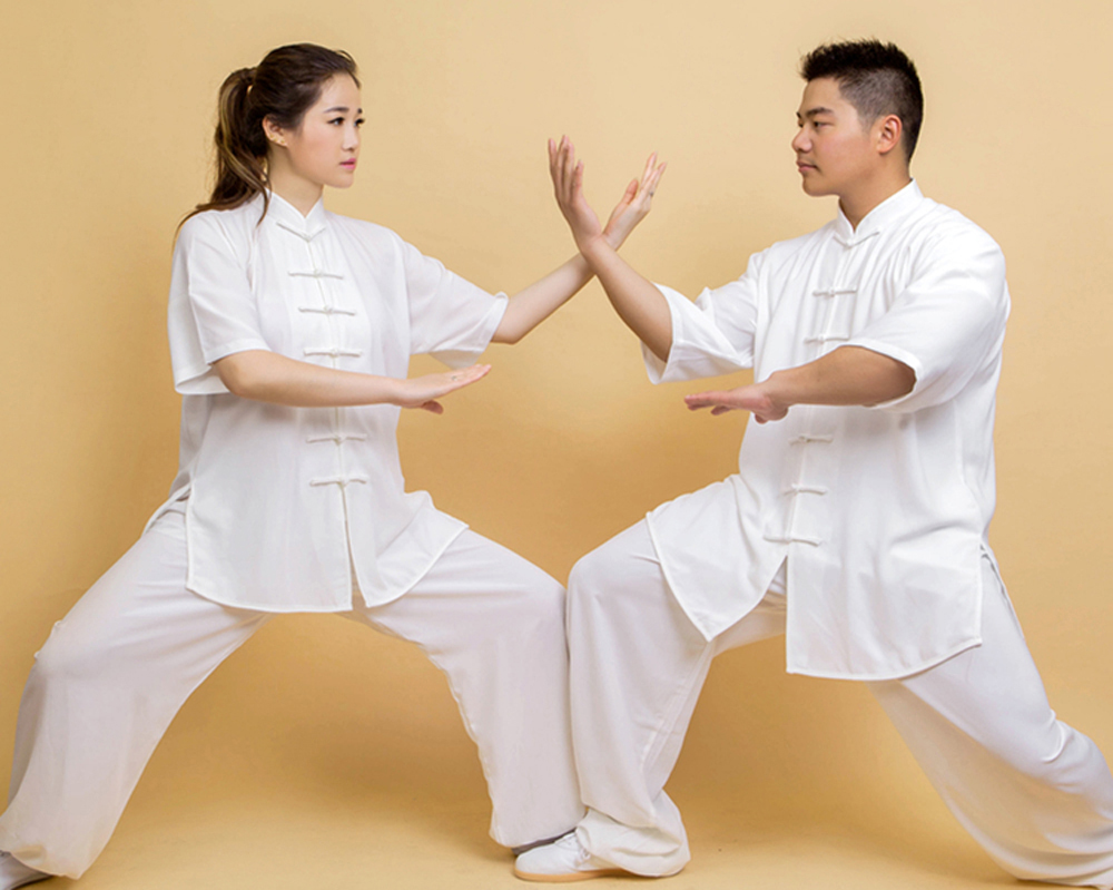 G-LIKE Chinese Traditional Pure Color Half Sleeve Cotton Breathable Tai Chi Sets Comfortable Martial Arts Suits
