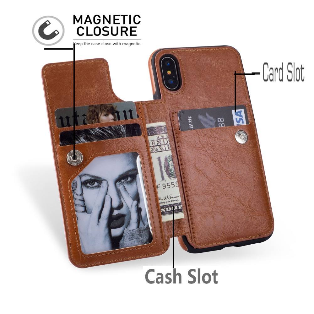 Fashion PU Leather Cover For Iphone X XR XS MAX 7 Case Flip Card Holder Back Case For Iphone 6 6s 7 8 Plus Cover Wallet Coque