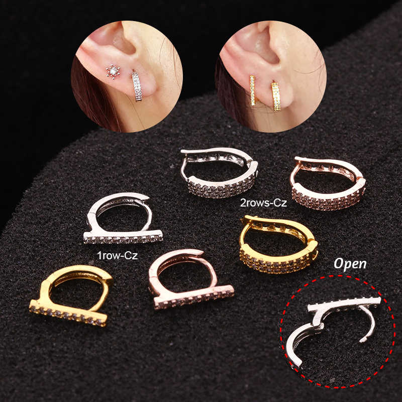 New Arrival 1pc 6mm/8mm/10mm Cz Huggie Hoop Cartilage Earring Helix Tragus Daith Conch Rook Snug Ear Piercing Jewelry