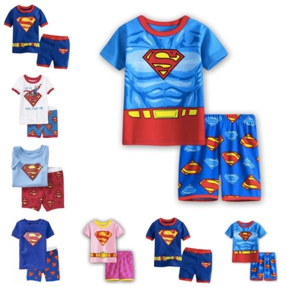 2394c3a23 Super Heroes Superman Kids Pajamas Sets Cotton Summer Superman Short ...