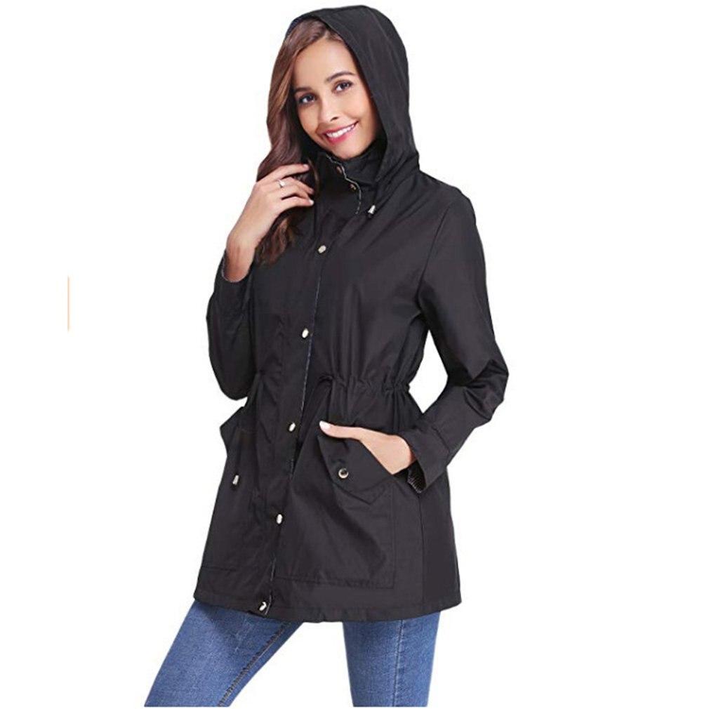 Mode à capuche veste coupe-vent femmes manteau imperméable à l'eau vent preuve en plein air pluie manteau décontracté vêtements d'extérieur