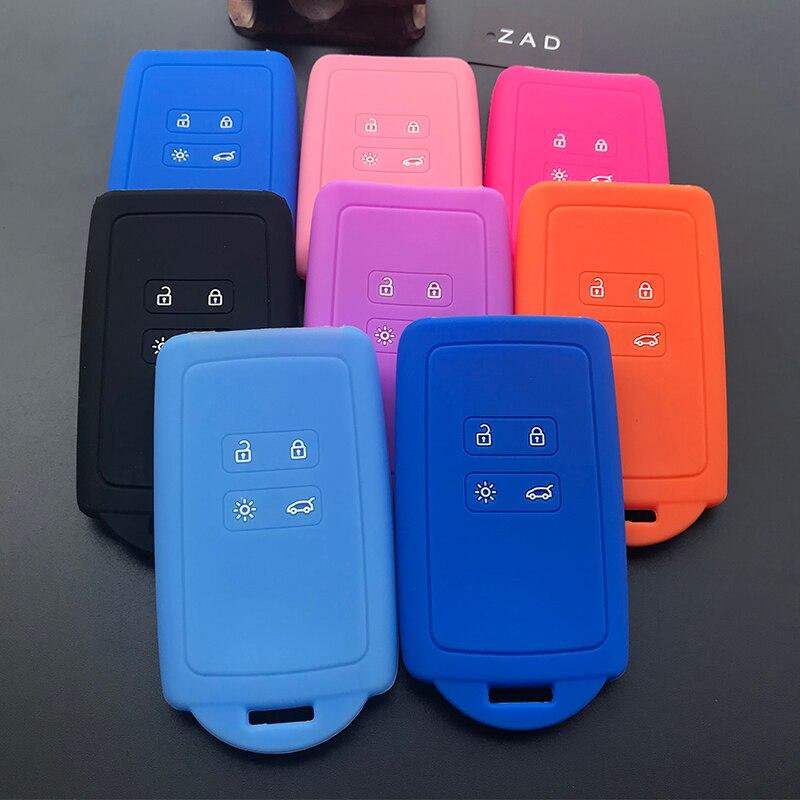 Чехол для автомобильного ключа ZAD, силиконовый резиновый чехол для Renault KOLEOS Kadjar Arkana 2017, для samsung QM5, набор из 4 кнопочных карт, чехол для смарт-к...