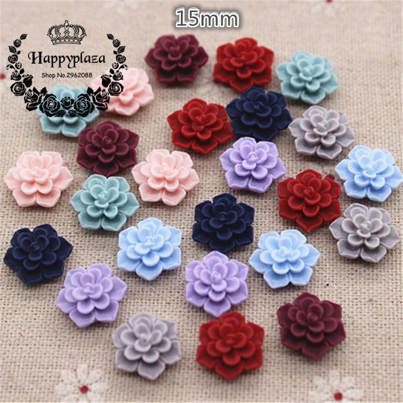 50PCS Cute Matte Vintage Resin Flowers Flatback Cabochon DIY Jewelry/Craft Scrapbooking,15mm