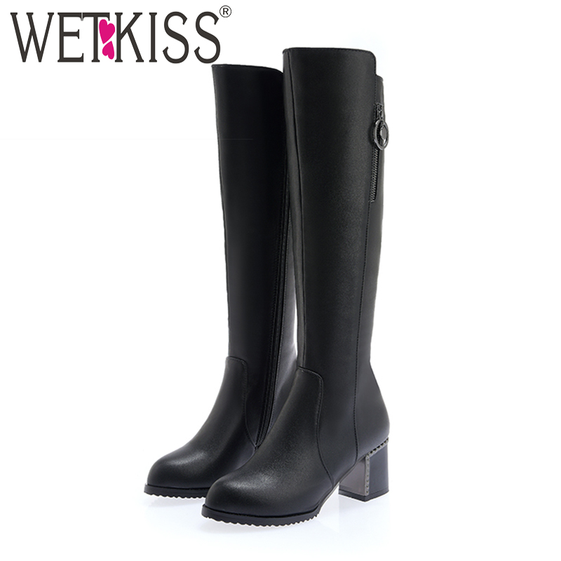WETKISS High Heels Knee High Boots Pointed Toe Zip Footwear Pu Female Boot Riding Fashion Rivet Shoes Woman 2018 Winter NewWETKISS High Heels Knee High Boots Pointed Toe Zip Footwear Pu Female Boot Riding Fashion Rivet Shoes Woman 2018 Winter New