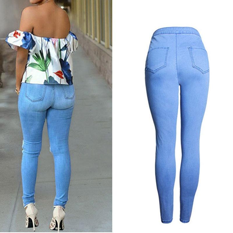 a3fd8ac8 Bonito estilo europeo ropa barata para mujer pantalones vaqueros de mezclilla  azul cintura alta estiramiento Delgado lápiz pantalones vaqueros de agujero  ...