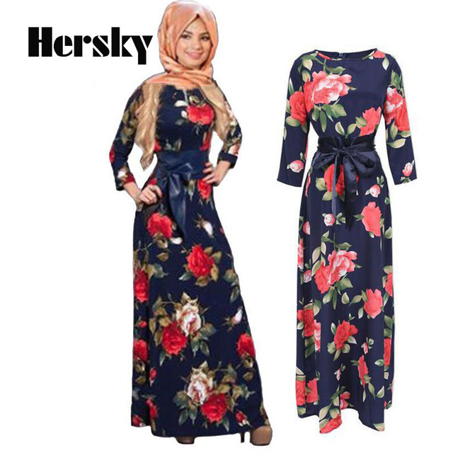 ddcd025fbc5 New Fashion Abaya Muslim Maxi Dress Women Islamic Printing hijab Clothing  Turkish Clothes Turkey Musulmane Robe Modal dresses