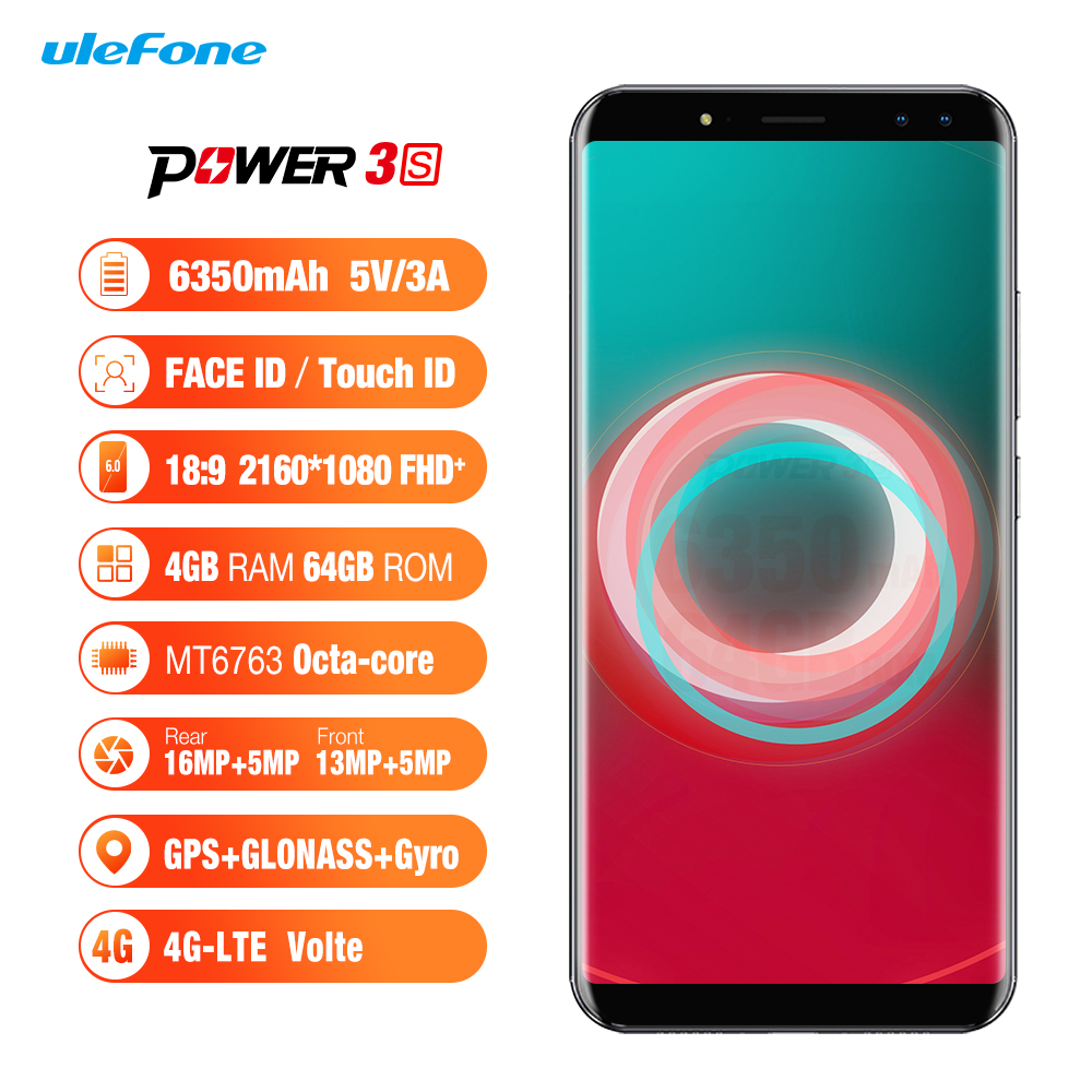 Ulefone Power 3S Android 7.1 Smartphone MTK6763 Octa Core 6.0 inch 4GB RAM 64GB ROM 6350mAh 4G 4 Cameras Face ID Mobile Phone