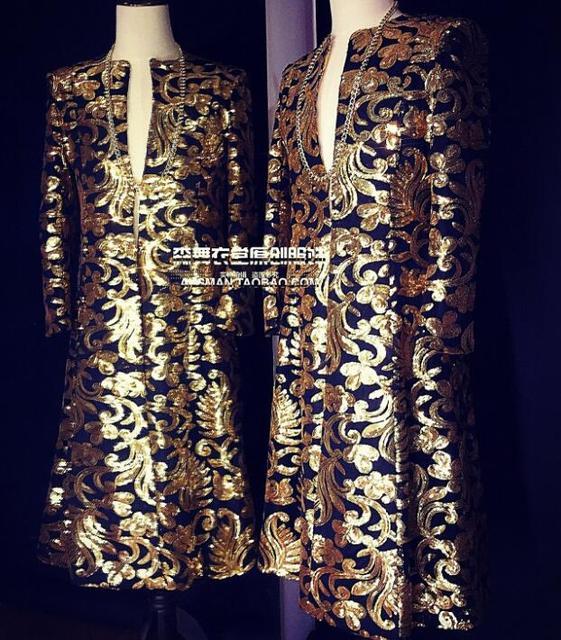 Hot Nightclub Bar New Male Singer DJ Moderator High-end Gold Totem Embroidery Long jackets Umbrella Men Coat Costume S-5XL