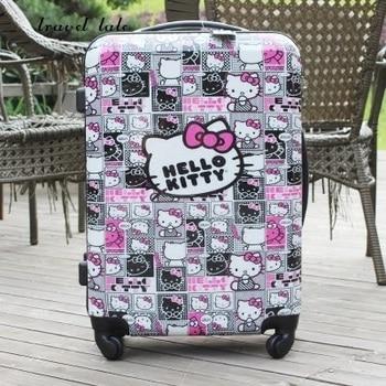 7a6cab50f Viaje moda lindo dibujos animados 20/24 pulgadas ABS + PC alta calidad  Maletas con ruedas SPINNER marca maleta de viaje