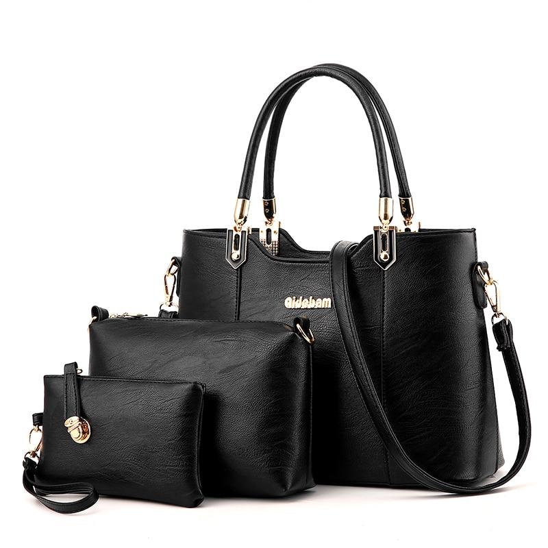 5 Color Famous Brand Women Bag Brand 2017 Fashion Women Messenger Bags Handbags PU Leather Female Bag 3 piece Sac Black pink