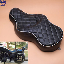 купить for Harley XL883 XL1200 N Sportster 05-13 Motorcycle Solo Black PU Leather+Soft Foam Style Driver+Passenger Pillion Low-Pro Seat по цене 7795.55 рублей