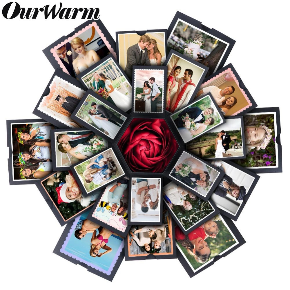 OurWarm DIY Love Explosion Box Valentine's Day Gift Box Photo Album Paper Surprise Box Party Decoration Anniversary Scrapbook