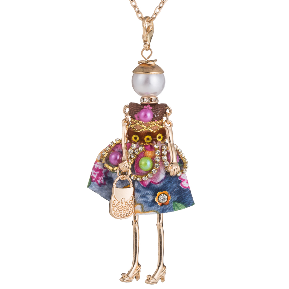 Fashion Jewelry ! Doll Necklace Pendants Charms Free Shipping Women Accessories Female Crystal Beads DIy handmade