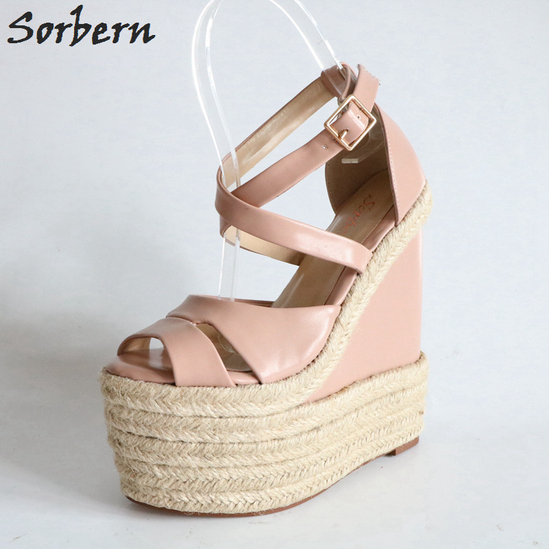 Sorbern Rope Wedge Heels 18Cm High Heels Size 13 Shoes For Women Plus Size 34-46 Custom Open Toe Sandals 2018 New Arrivals
