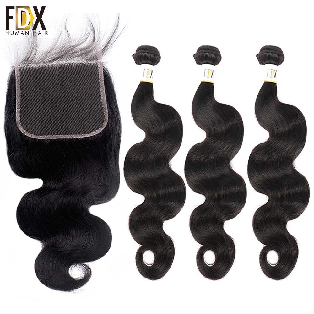 FDX ブラジル実体波の毛 6 × 6 閉鎖バンドル人間の髪織り 3 バンドルにレースクロージャー 28 30 インチ 2 バンドルの remy  グループ上の ヘアエクステンション & ウィッグ からの 3/4 バンドル留め具付き の中 1