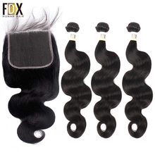 FDX Brazilian body wave hair 6x6 closure with bundles human hair weave 3 bundles with lace closure 28 30 inch 2 bundle remy(China)