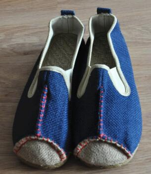 Chinese style Couple countryside flattie shoes Beige blue Unisex Chinese Jute knitted Linen Shoes Comfortable driving Flat shoes in Shoes from Novelty Special Use