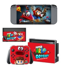 Super Mario Odyssey Decal Vinyl Skin Sticker for Nintendo Switch NS Console + Controller + Stand Holder Protective Skin