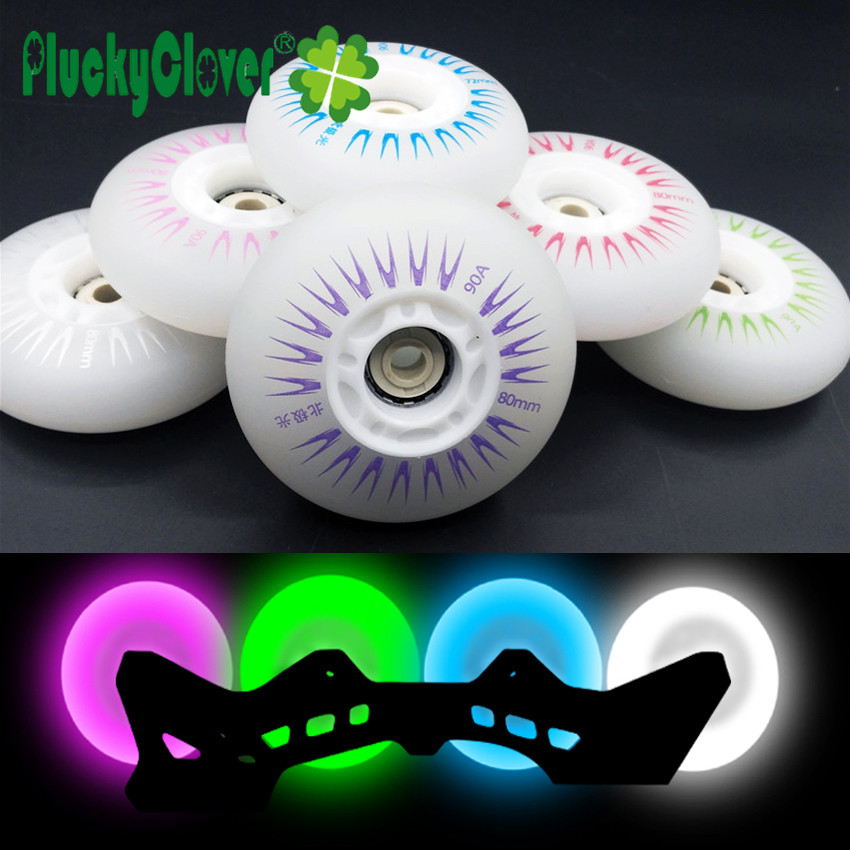 4 piezas en línea Flash rueda de rodillos 90A 60mm 64mm 68mm 70mm de SEBA Skate de luz LED rodillo de Freestyle Slalom Patines de rueda de neumático