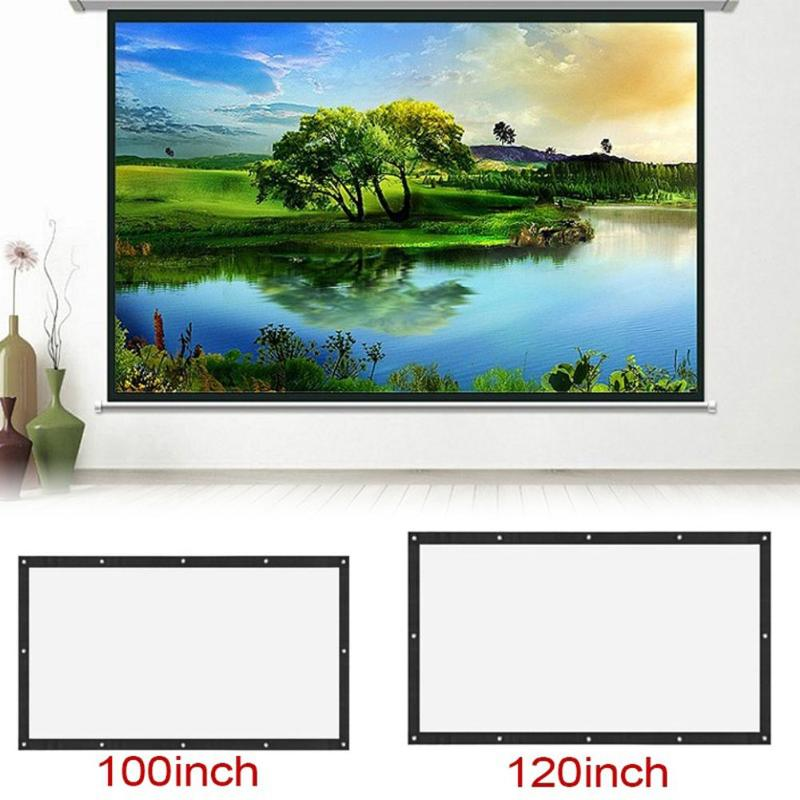 ALLOYSEED Portable 60/72/84/100/120 inch 3D HD Wall Mounted Projection Screen Canvas 16:9 LED Projector Screen For Home Theater 17